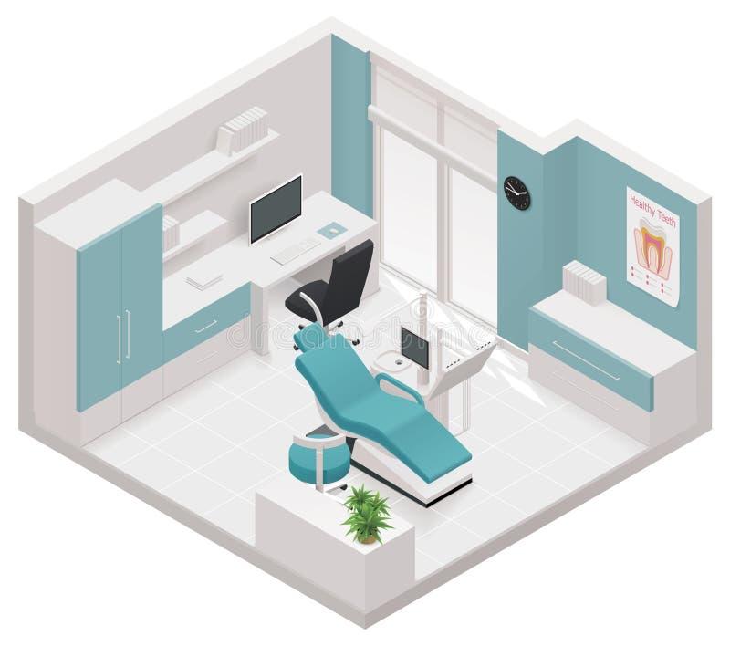 Wektorowa isometric stomatologiczna kliniki ikona ilustracja wektor