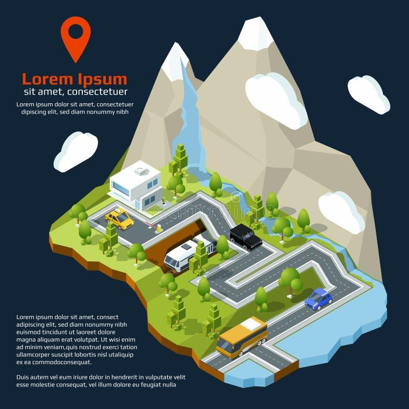 Wektorowa isometric ulica Miastowi elementy na 3d mapie Różni domy ustawiający i drogi ilustracji