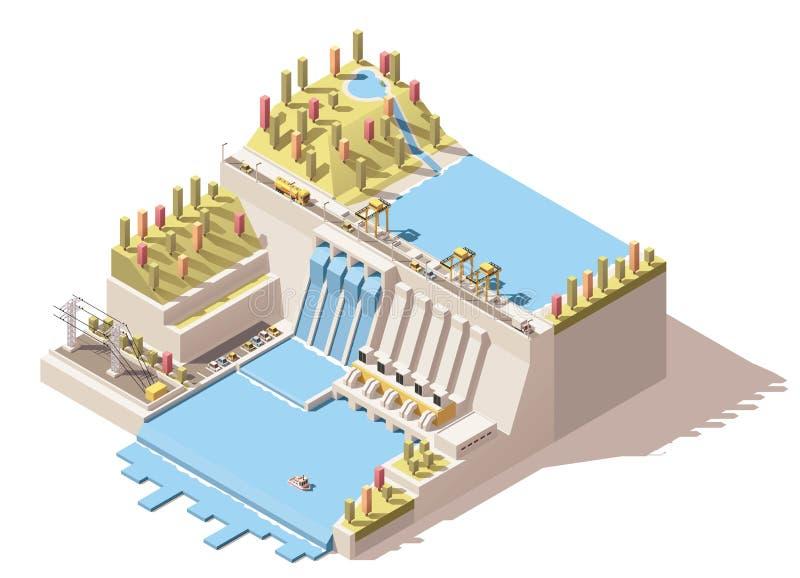 Wektorowa isometric wodna elektrownia infographic ilustracji