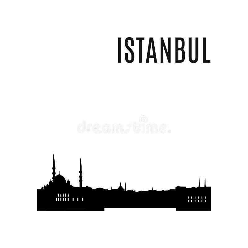 Wektorowa Istanbuł miasta linii horyzontu czerni sylwetka royalty ilustracja