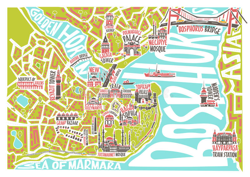 Wektorowa Istanbul mapa z sławnymi punktami zwrotnymi ilustracja wektor