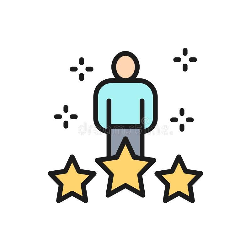 Wektorowa istota ludzka z dużymi gwiazdami, pracownik ocena, informacje zwrotne koloru linii płaska ikona ilustracji