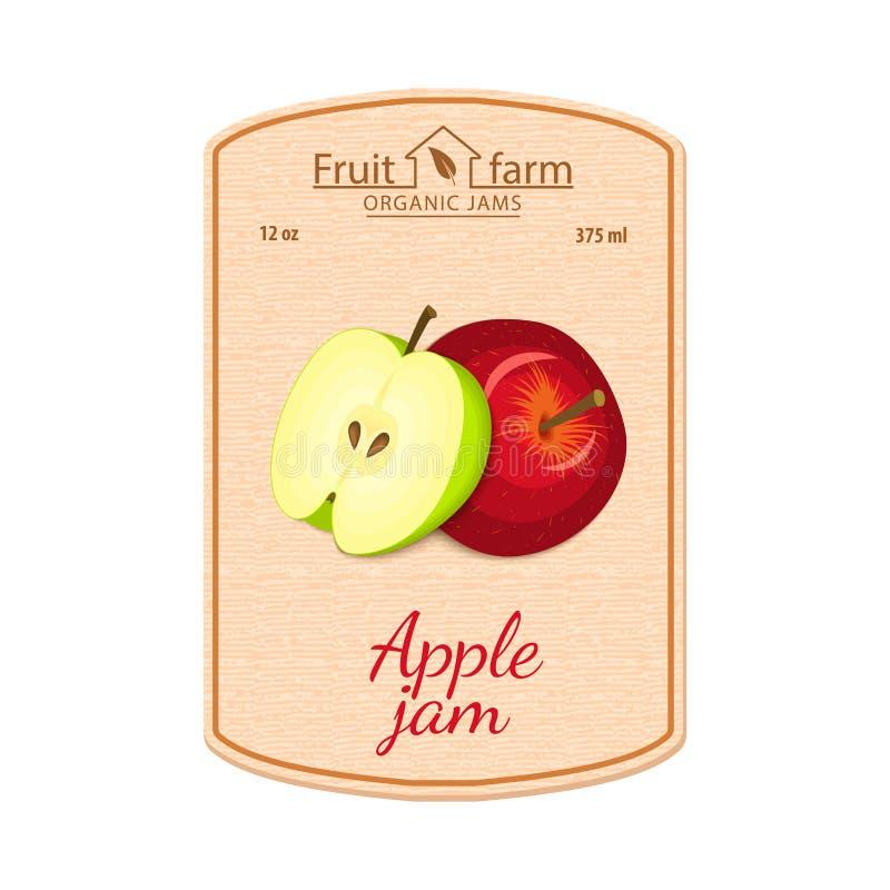 Wektorowa jabłczana dżem etykietka Skład zielone i czerwone jabłko owoc Projekt majcher dla słoju z jabłczanym dżemem, owoc ilustracja wektor