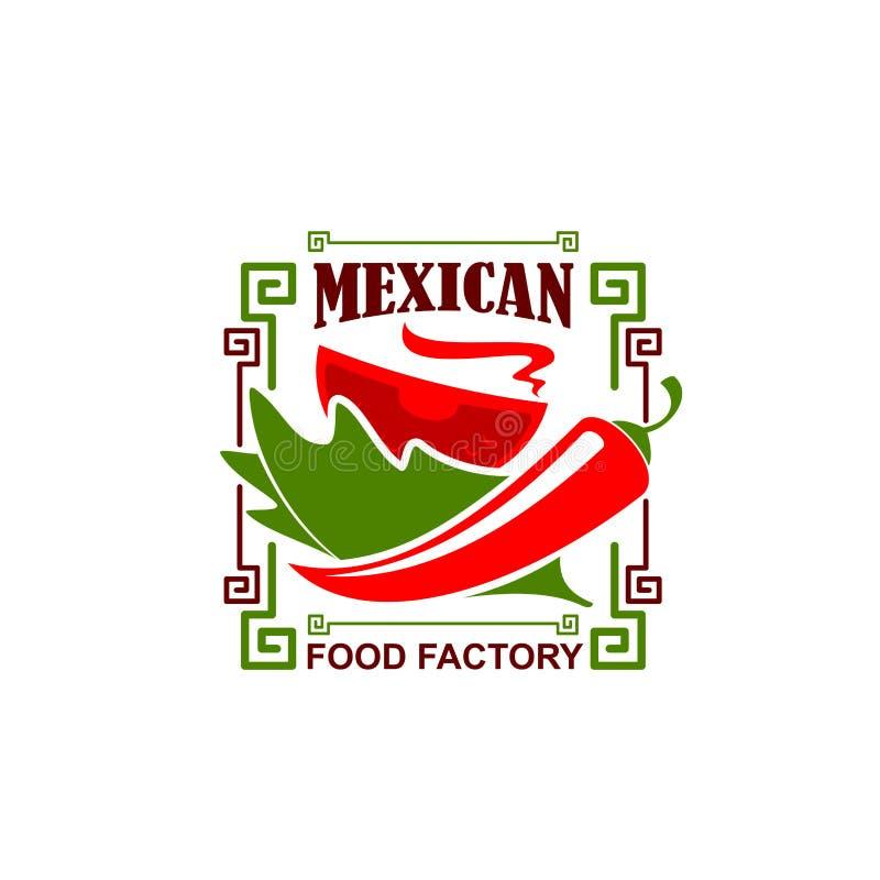 Wektorowa jalapeno pieprzu ikona dla Meksykańskiej restauraci royalty ilustracja