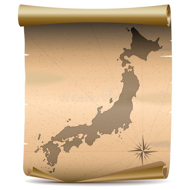 Wektorowa Japonia rocznika mapa ilustracji