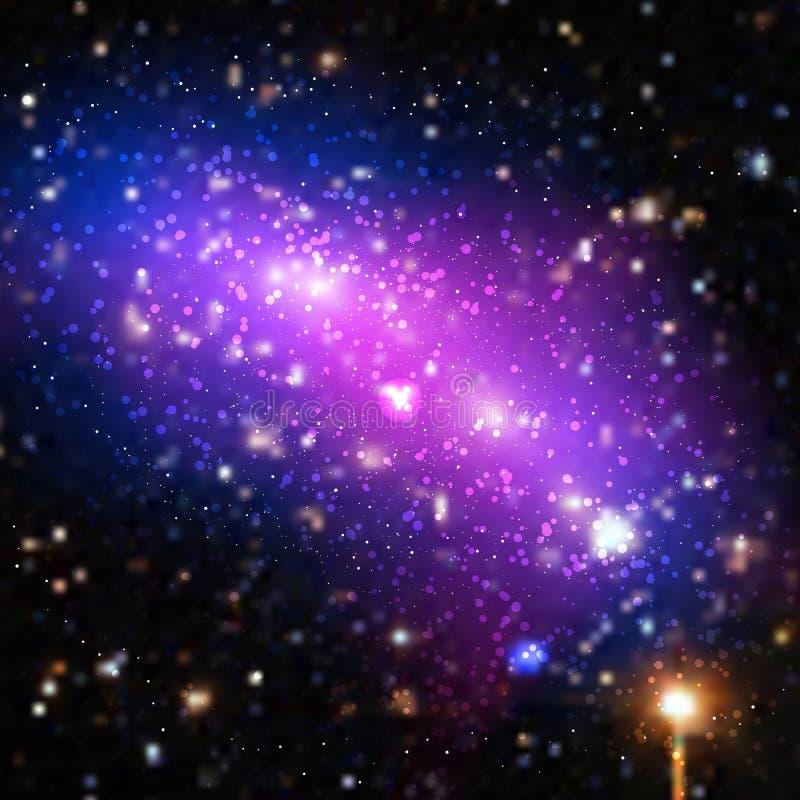 Wektorowa jaskrawa kolorowa kosmos ilustracja Abstrakcjonistyczny pozaziemski tło z gwiazdami Niektóre elementy ten wizerunek meb ilustracja wektor