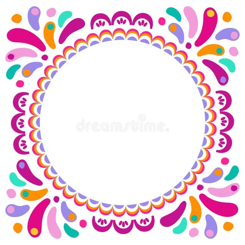 Wektorowa jaskrawa kolorowa round rama dla kartka z pozdrowieniami Dekoracyjny etniczny ornament dla carnaval festiwali/lów, świę ilustracji
