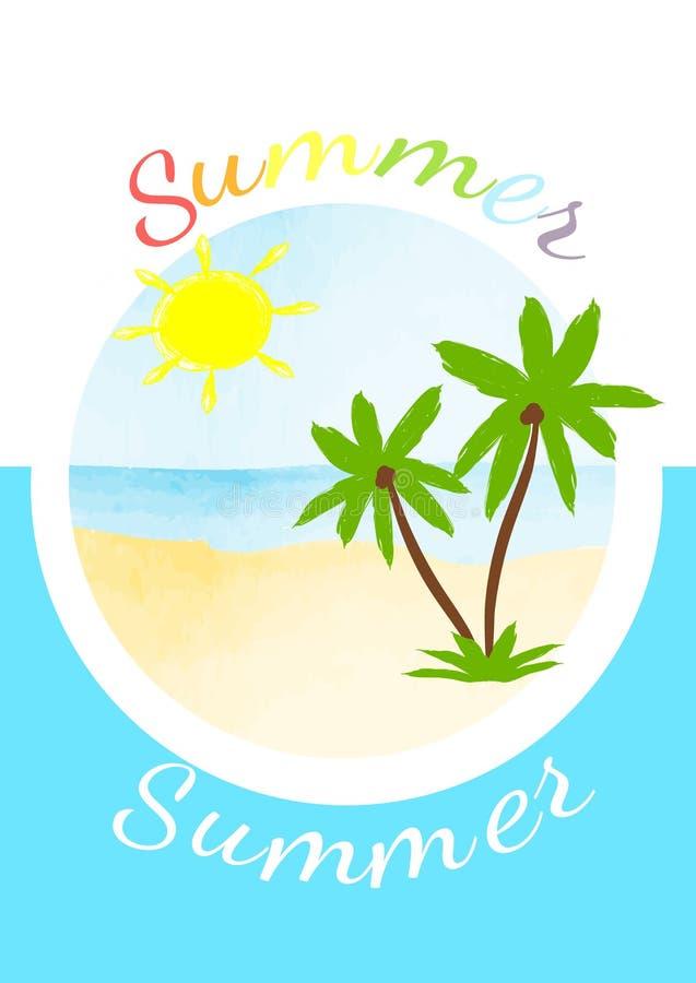 Wektorowa jaskrawa lato karta ilustracja wektor