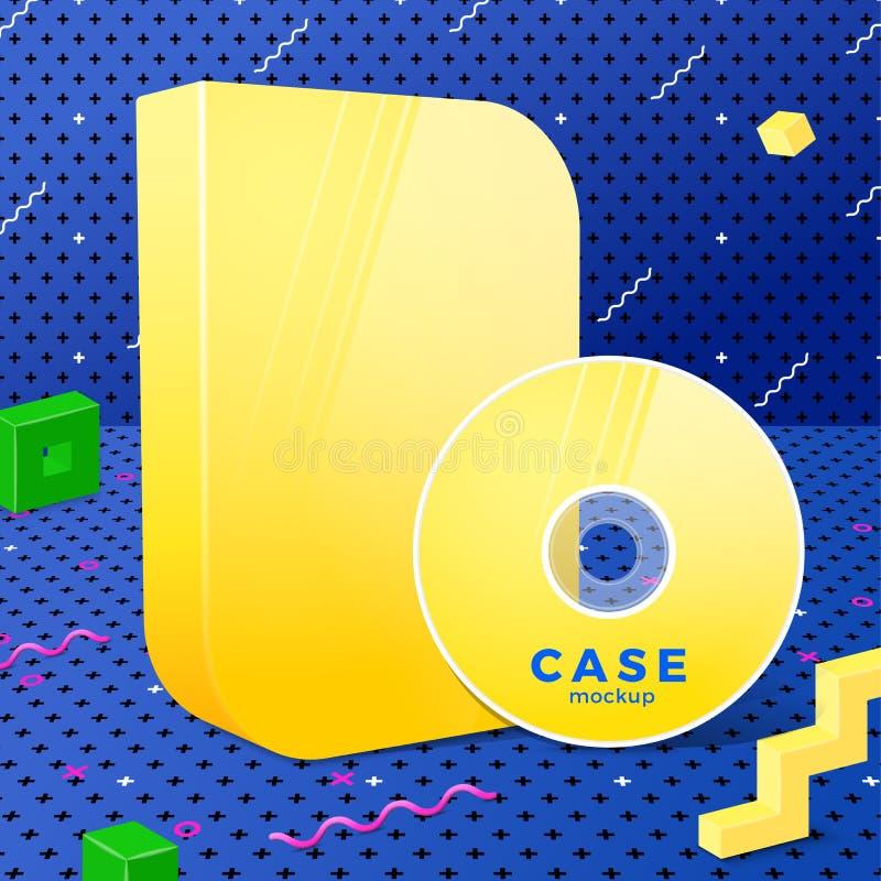 Wektorowa jasnożółta realistyczna tarcza i drążka z pudełka ilustracja wektor