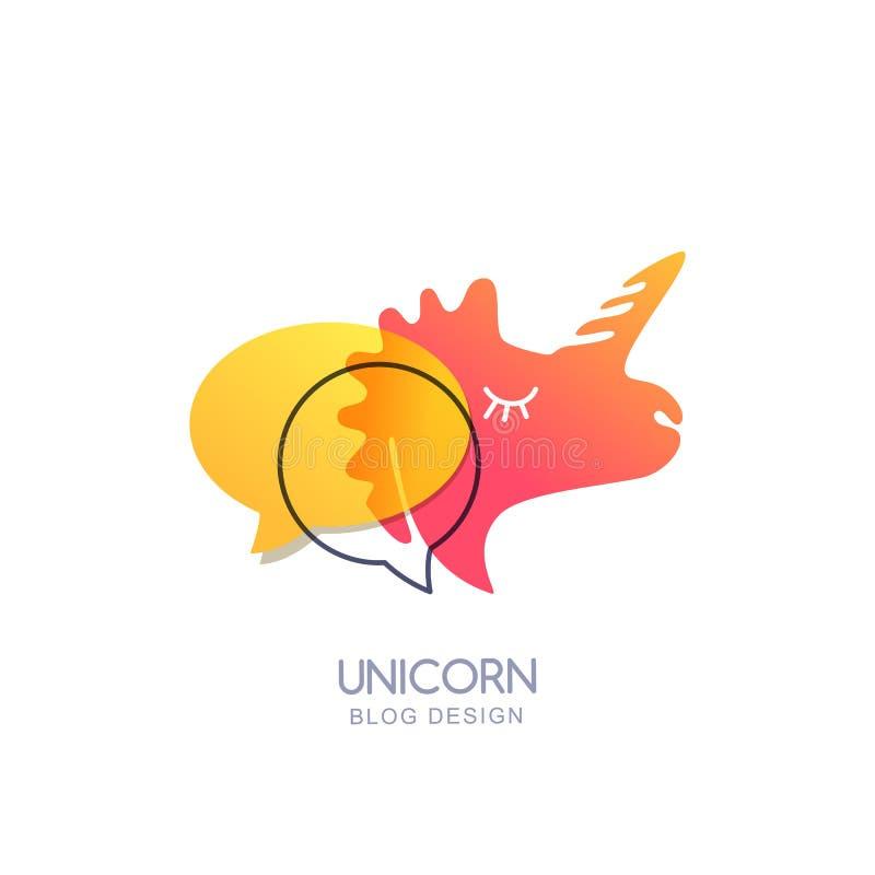 Wektorowa jednorożec i mowa gulgoczemy, logo ikona lub emblemat Ilustracja jednorożec pinkl głowa dla blogu, gadki lub forum proj royalty ilustracja