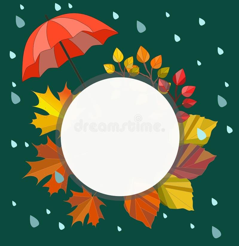 Wektorowa jesień, spadku szablon, rama, granica, ilustracja dla twój teksta Dżdżysty jesień projekt ilustracji