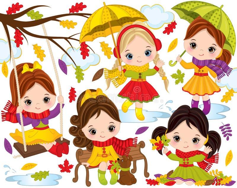 Wektorowa jesień Ustawiająca z Ślicznymi małymi dziewczynkami i Kolorowymi liśćmi ilustracja wektor