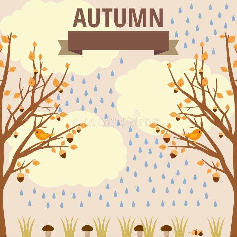 Wektorowa jesieni ilustracja flory i fauny ilustracja wektor