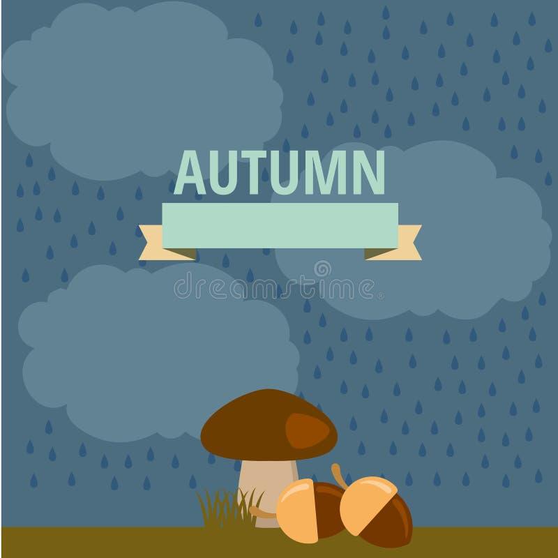 Wektorowa jesieni ilustracja pieczarka w deszczu ilustracji