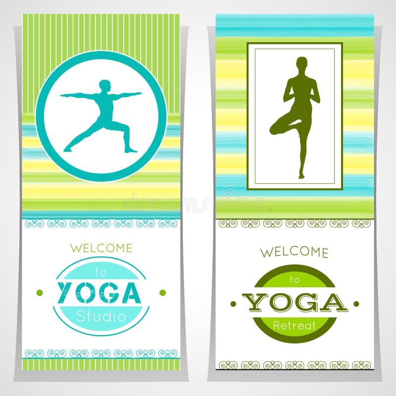 Wektorowa joga ilustracja Joga plakaty z akwareli teksturą i jog sylwetką Tożsamość projekt dla joga studia, joga ześrodkowywa, ilustracji