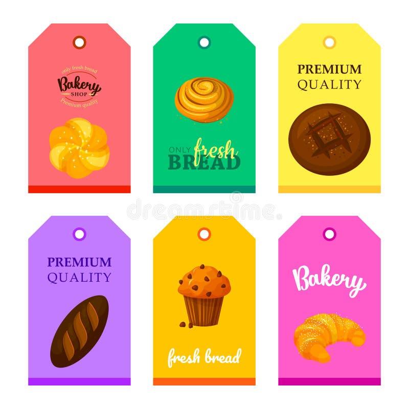 Wektorowa karta sklepu piekarnia z chlebami ustawiającymi ilustracji