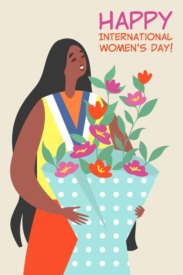 Wektorowa kartka z pozdrowieniami dla Międzynarodowego kobieta dnia z śliczną dziewczyną trzyma bukiet kwiaty ilustracja wektor