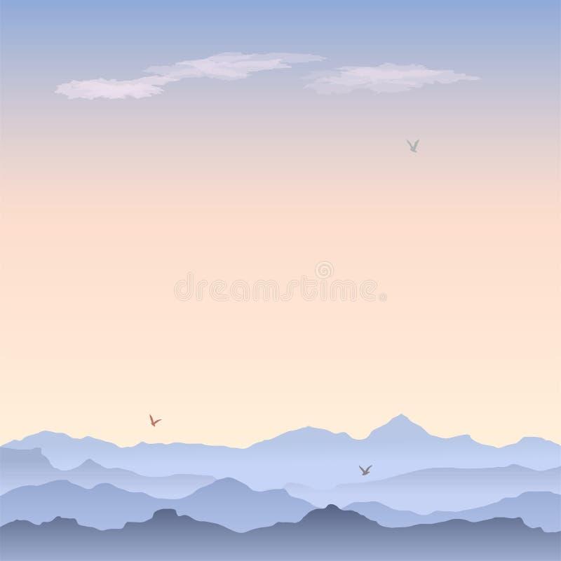 Wektorowa kartka z pozdrowieniami z góra krajobrazem ilustracji