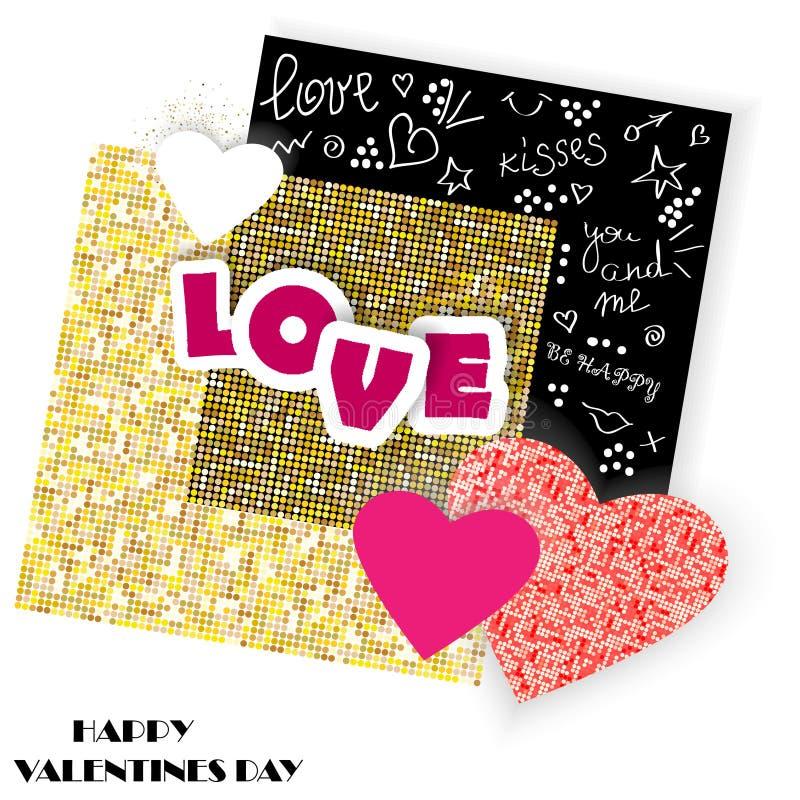 Wektorowa kartka z pozdrowieniami z papierowymi rżniętymi sercami, skrobanina elementami i złotą teksturą, Romantyczny tło dla va ilustracja wektor