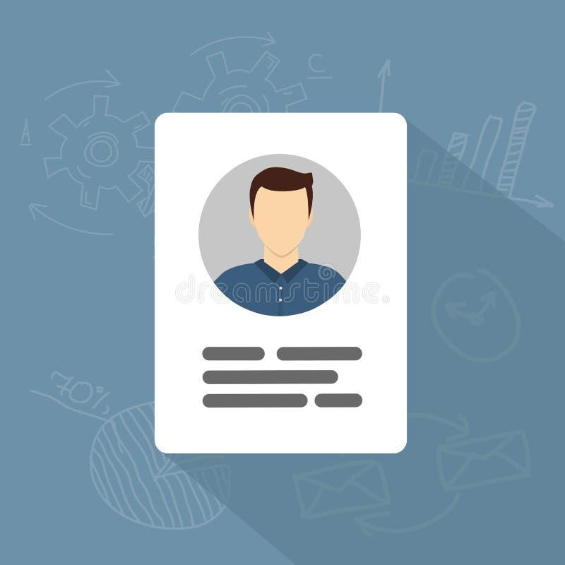 Wektorowa karty identyfikacyjnej ikona Informacja osobista dane ikony mieszkanie royalty ilustracja