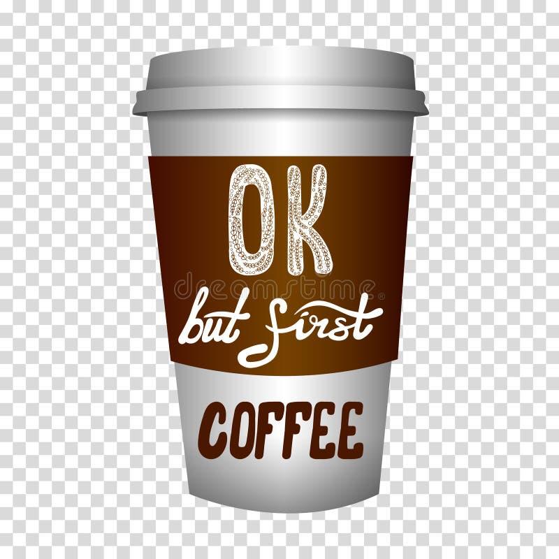 WEKTOROWA kawa iść filiżanka z ręka rysującymi listami ilustracji
