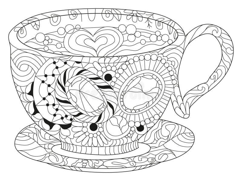 Wektorowa kawa lub herbaciana fili?anka z abstrakcjonistycznymi ornamentami ilustracji