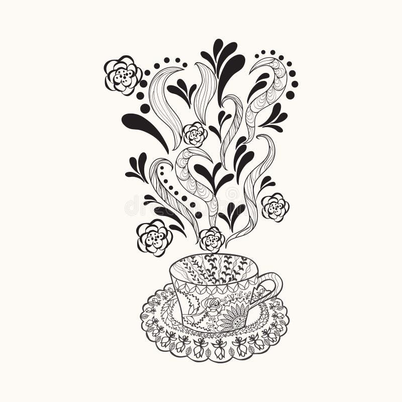 Wektorowa kawa lub ziołowa herbaciana filiżanka z abstrakcjonistycznymi ornamentami ilustracja wektor