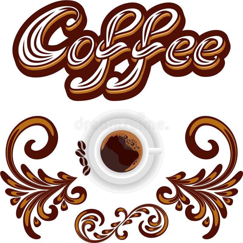 Wektorowa Kawowa ikona lub logo dla menu projekta bufeta lub kawy royalty ilustracja