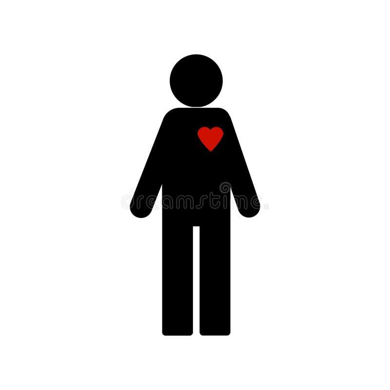 Wektorowa kij postać z czerwonym sercem, murzyni, odizolowywająca kij postać ilustracja wektor