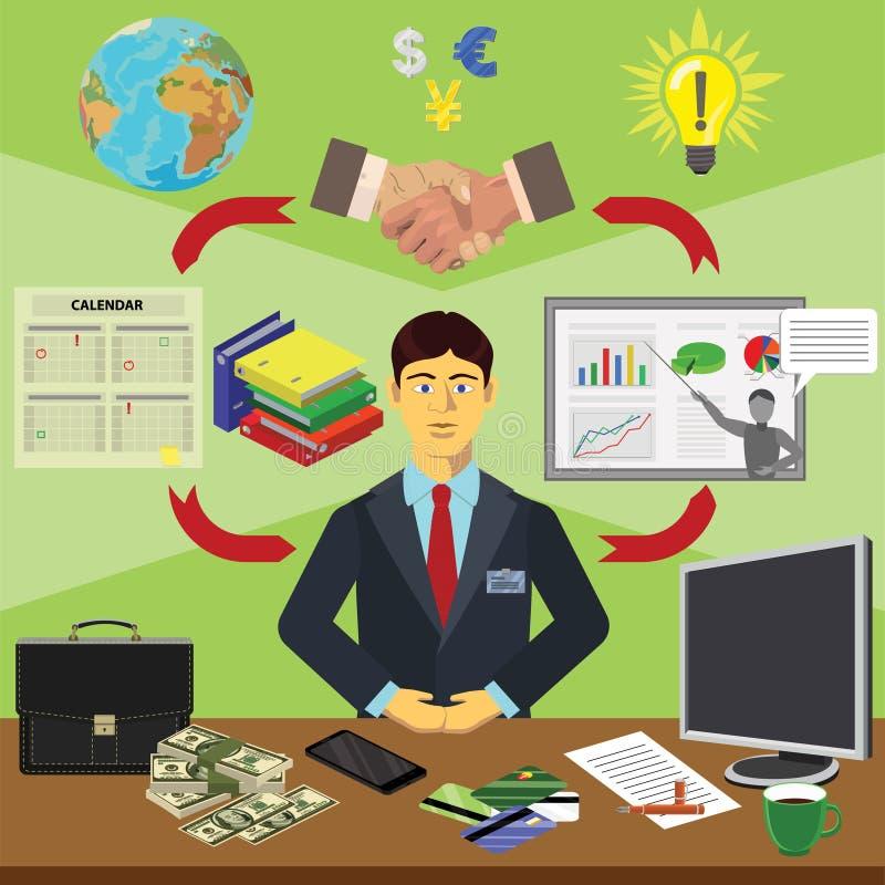 Wektorowa klamerki sztuka Infographics edukacja Zawód biznesmena finansista royalty ilustracja