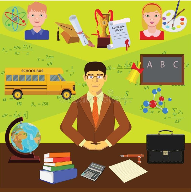 Wektorowa klamerki sztuka Infographics edukacja Zawód nauczyciel ilustracja wektor