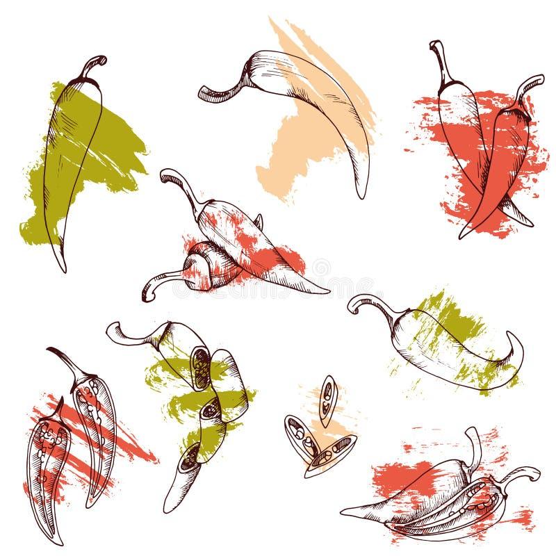 Wektorowa klamerki sztuka ustawiająca chili pieprze odosobneni Czerwoni warzywa na białym tle z szczotkarskimi uderzeniami royalty ilustracja