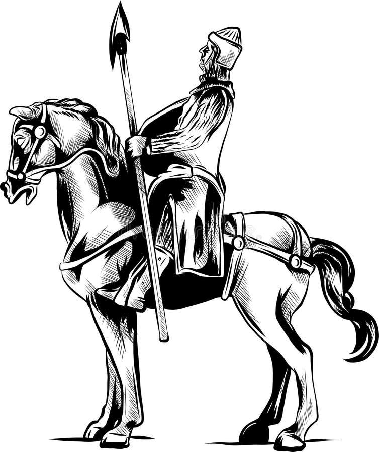 Wektorowa klamerki sztuki ilustracja opancerzony rycerz na strasznym czarnym koniu z czerwienią przygląda się ładować lub ono pot royalty ilustracja