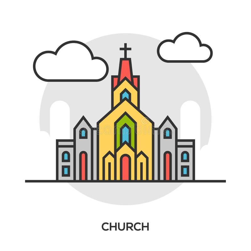 Wektorowa kościelna ikona Kaplica budynku pojęcie ilustracji