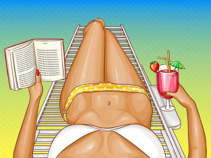 Wektorowa kobieta w bikini kłama na bryczce ilustracji