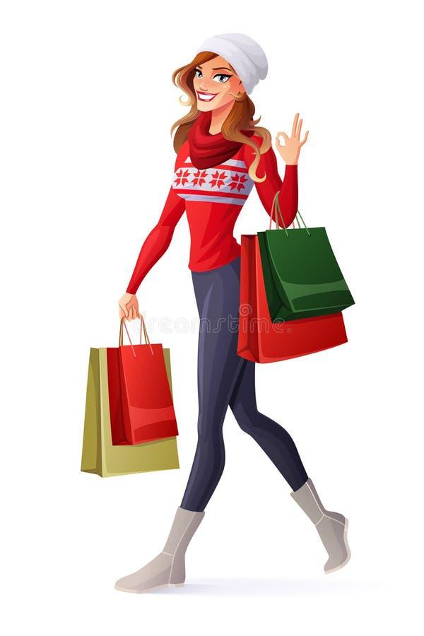 Wektorowa kobieta w Bożenarodzeniowym stroju z torba na zakupy pokazuje OK royalty ilustracja