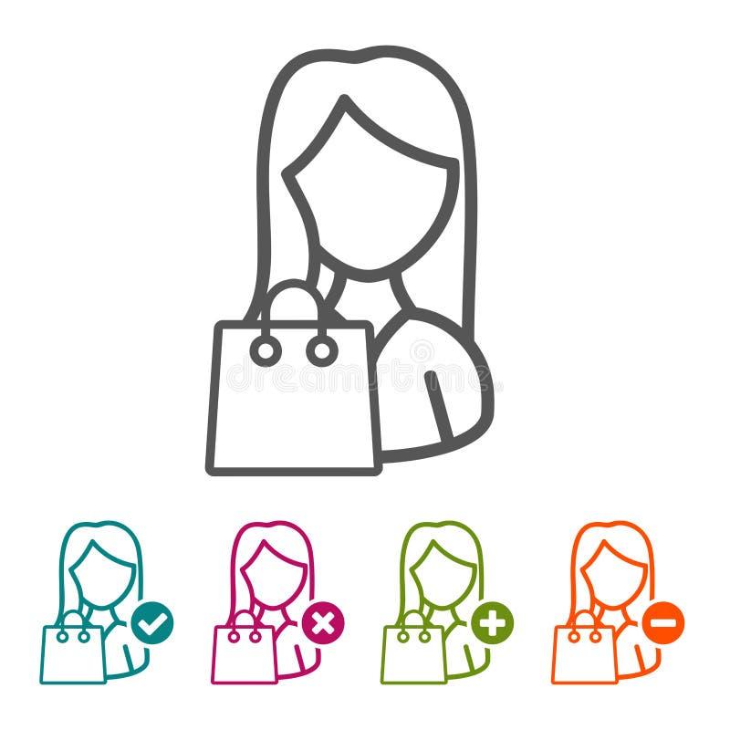 Wektorowa kobieta z torba na zakupy ikonami w cienkim kreskowym stylu i płaskim projekcie royalty ilustracja