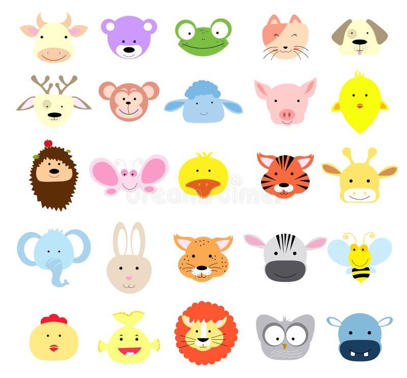 Wektorowa kolekcja Śliczne Zwierzęce twarze ilustracji