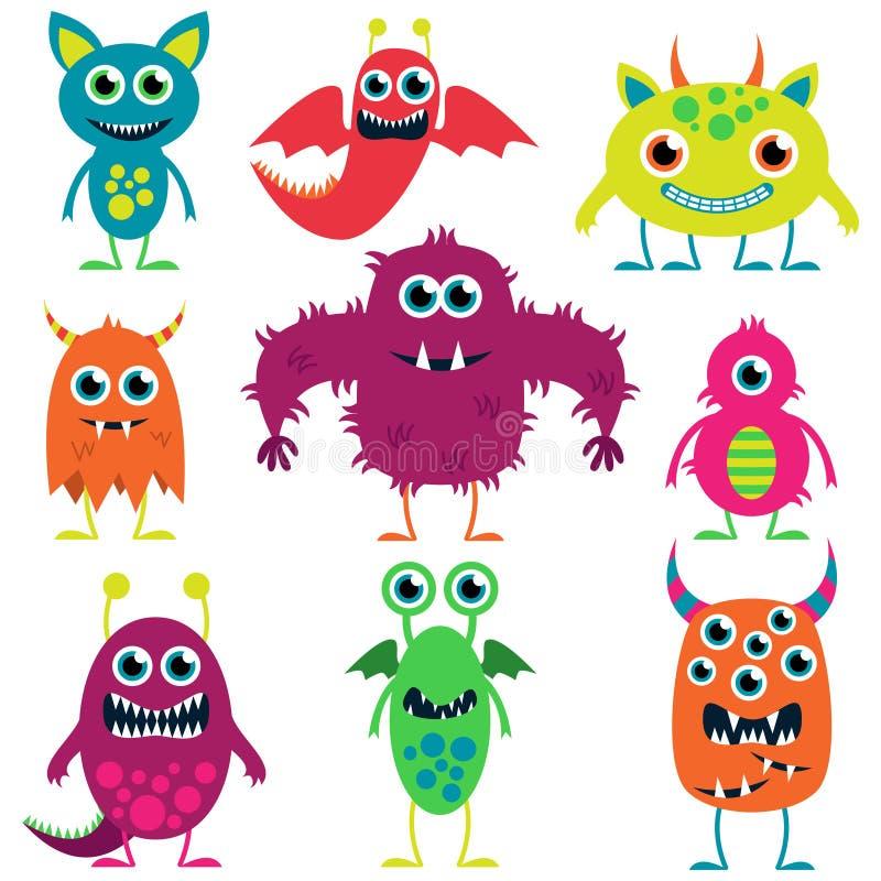 Wektorowa kolekcja Śliczni potwory ilustracji