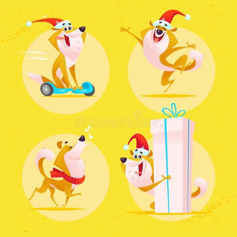 Wektorowa kolekcja śmieszni psi emoticons w Santa kapeluszu odizolowywającym na żółtym tle ilustracji