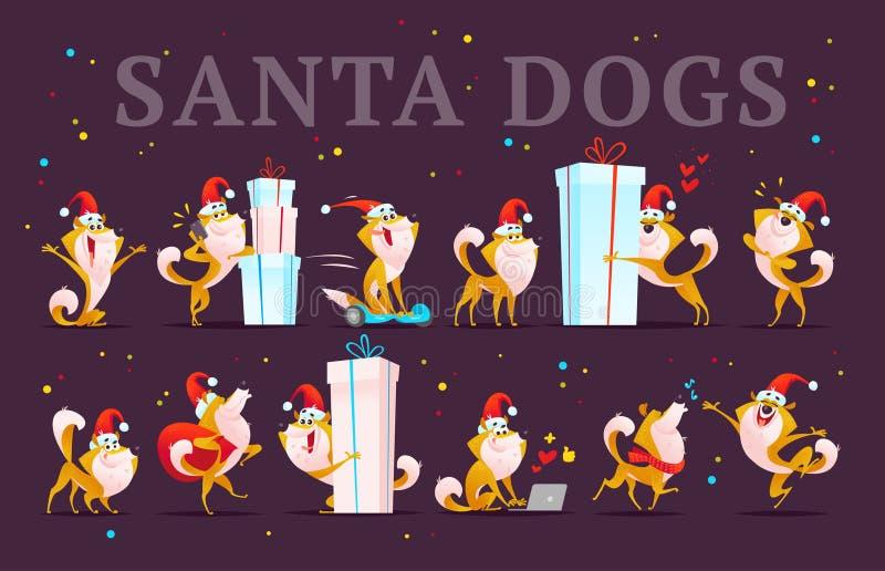 Wektorowa kolekcja śmieszni psi emoticons w Santa kapeluszu odizolowywającym na ciemnym tle ilustracji
