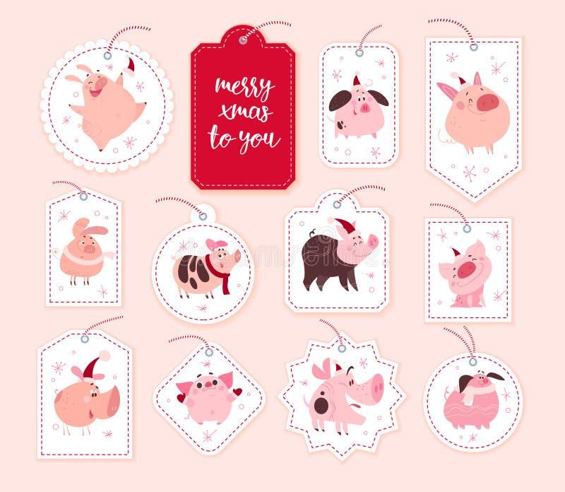 Wektorowa kolekcja boże narodzenie prezenta odznak i etykietek różni kształty odizolowywający na białym tle ilustracji