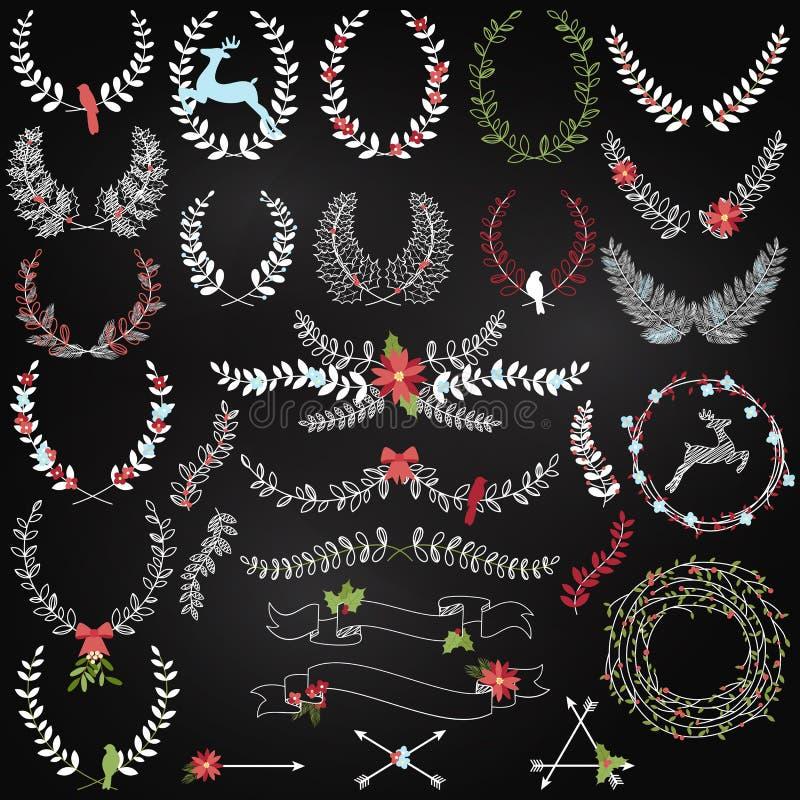 Wektorowa kolekcja Chalkboard Bożenarodzeniowi Wakacyjni O temacie bobki royalty ilustracja
