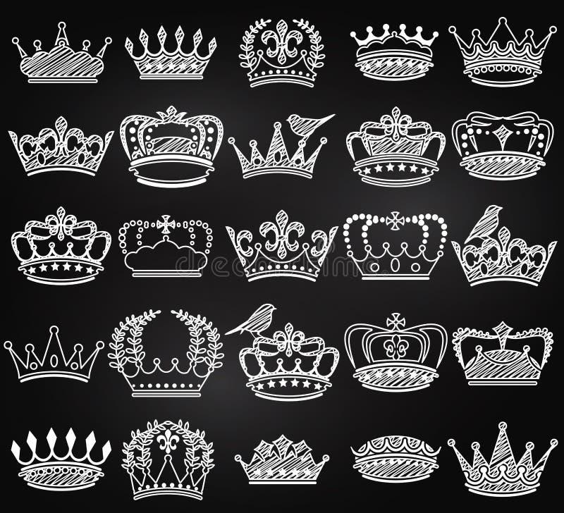 Wektorowa kolekcja Chalkboard rocznika stylu korony sylwetki royalty ilustracja