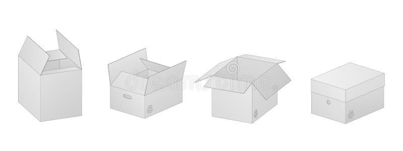 Wektorowa kolekcja cztery pięknego realistycznego białego kartonu papierowego pudełka z konturami na białym tle royalty ilustracja