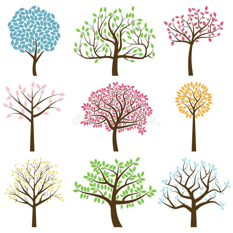 Wektorowa kolekcja Drzewne sylwetki ilustracji
