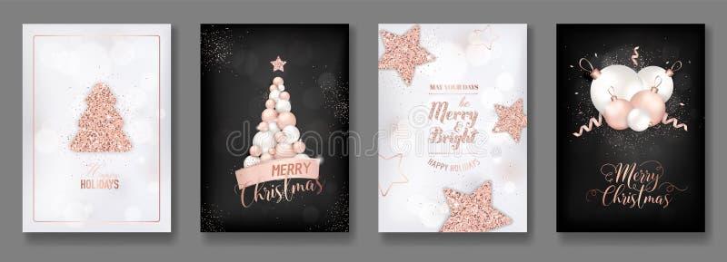 Wektorowa kolekcja eleganckie wesoło kartki bożonarodzeniowa z jaśnienie błyskotliwości bożych narodzeń różanymi złocistymi piłka royalty ilustracja
