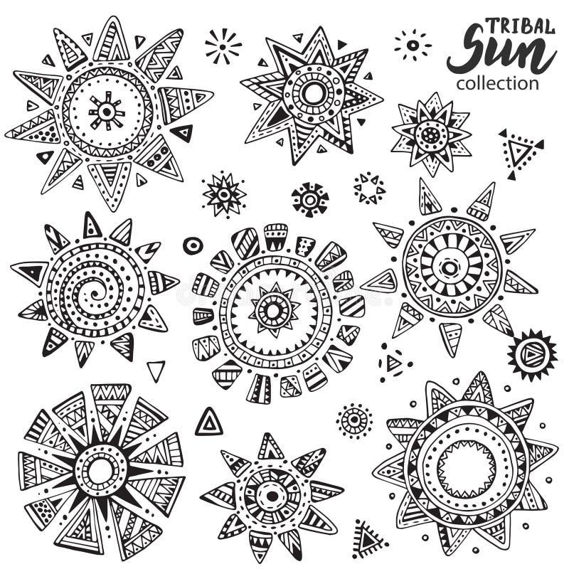Wektorowa kolekcja graficzni doodle słońca ilustracja wektor