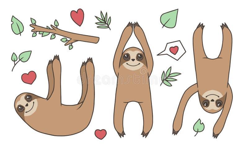 Wektorowa kolekcja ilustracje różni śliczni wiszący brąz opieszałości zwierzęta z liśćmi, gałąź i słucha ilustracji