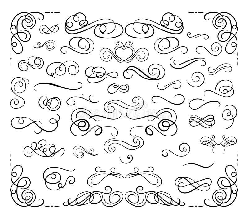 Wektorowa kolekcja Kaligraficzni projektów elementy, zawijasy Ustawiający, czerni linie Odizolowywać ilustracja wektor